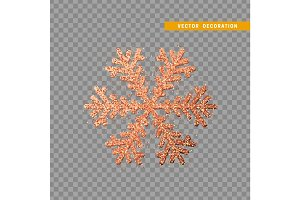 Christmas decoration, red snowflake covered bright glitter, on transparent background.