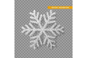 Christmas decoration, silver snowflake covered bright glitter, on transparent background.