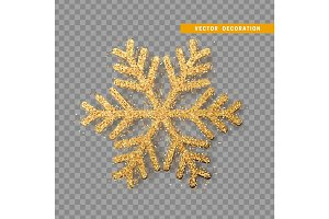 Christmas decoration, golden snowflake covered bright glitter, on transparent background.