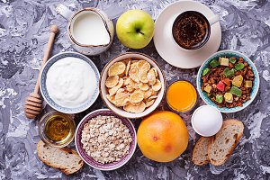 Selection of different healthy breakfast.
