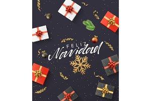 Spanish text Feliz Navidad.