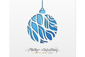 Christmas background, design Xmas blue ball of texture paper