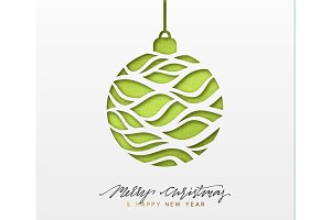 Christmas background, design Xmas green ball of texture paper