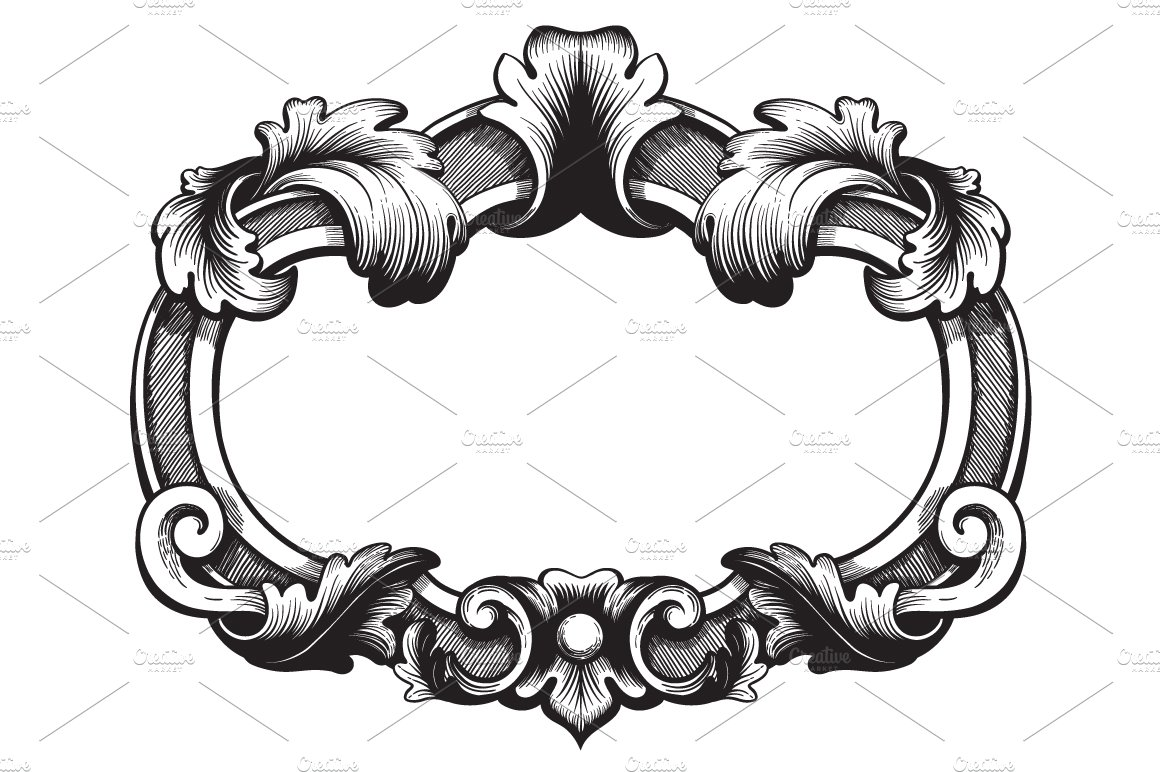 Ornate Vintage Frame. Vector. ~ Illustrations ~ Creative Market
