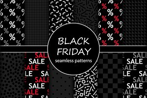 Cute set of Black Friday sale seamless patterns in traditional colors