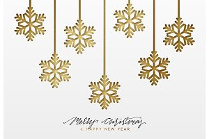 Christmas background, design golden snowflakes texture paper