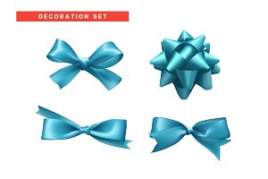 Bows blue realistic design.