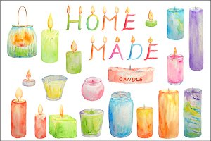 Watercolor Clipart Glowing Candles
