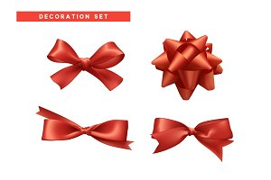 Bows red realistic design.