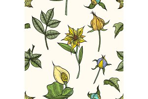 Vector vintage seamless floral pattern.