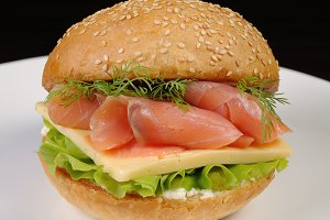Burger with salmon