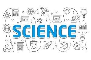 Linear illustration slide for the presentation science