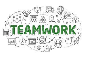 Linear illustration slide for the presentation teamwork