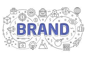 Linear illustration slide for the presentation brand