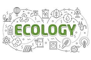 Linear illustration slide for the presentation ecology