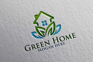 Green Home, Lotus Real estate Logo