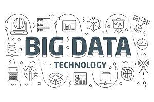 Linear illustration slide for the presentation big data