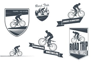 Vector labels of the cyclist.