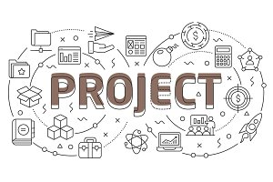 Linear illustration slide for the presentation project