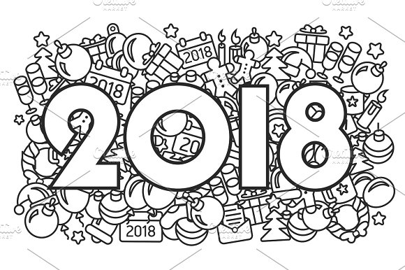 New Year 2018 illustration lines abstract icons