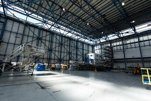 View of hangar at airlines maintenance facility