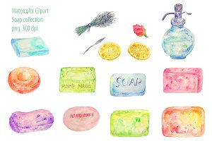 Watercolor Clipart Soap Collection