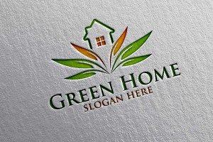 Green Home, Lotus Real estate Logo