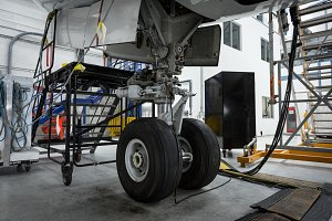 Chassis of the airplane under heavy maintenance at airlines maintenance facility