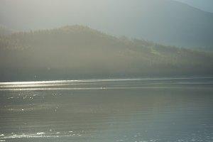 Couple boating on a lake