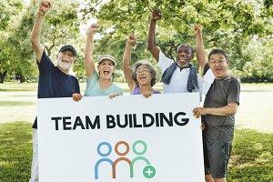 Group of diverse senior people