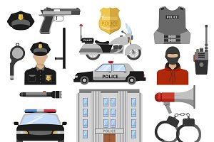Police Decorative Flat Icons Set