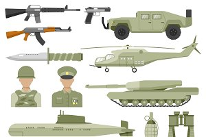 Army Decorative Flat Icons Set