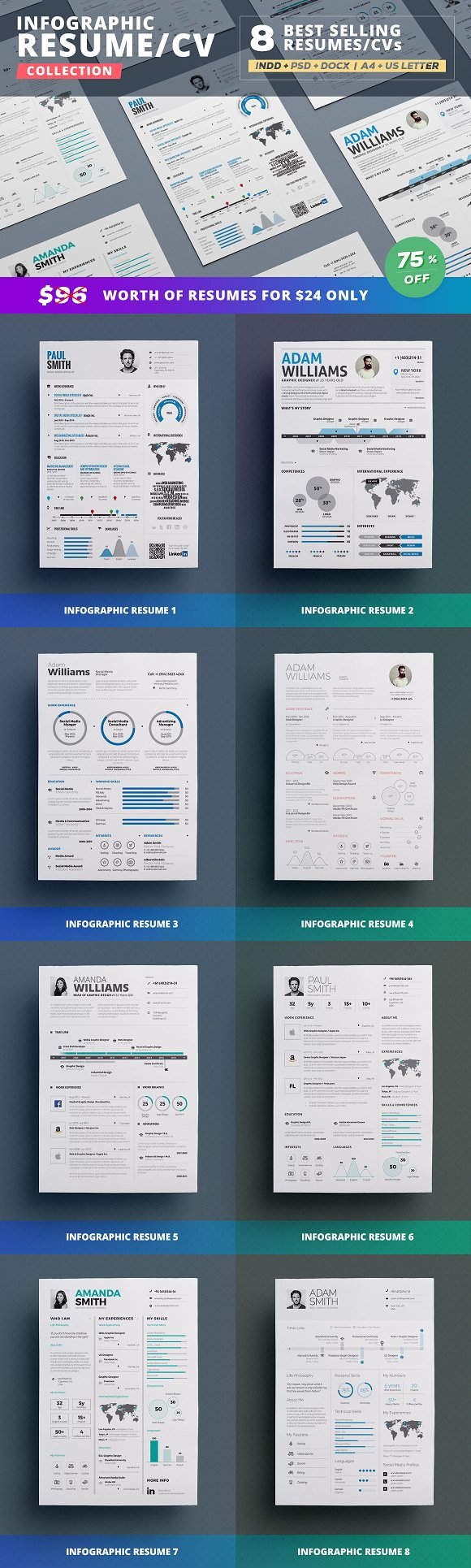 infographic resume bundle resume templates creative market