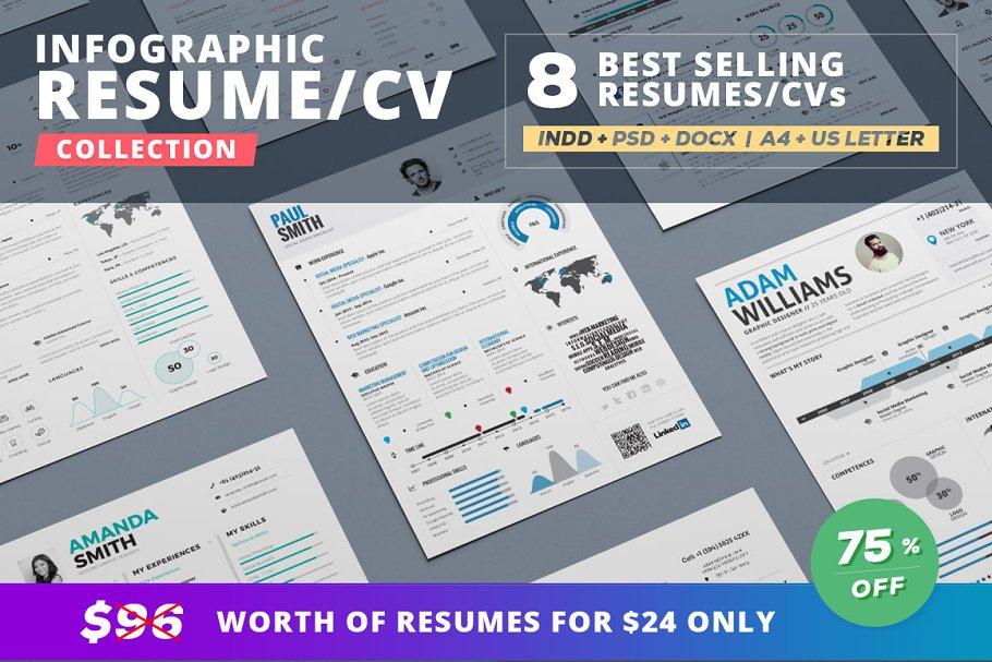 Infographic Resume Bundle Templates Creative Market