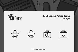 42 Shopping Actions Vector Line Icon