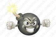 Angry mean bomb cartoon mascot