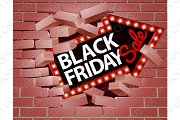Black Friday Sale Arrow Breaking Through Wall