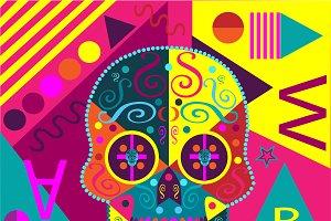 Pop art skull pink color