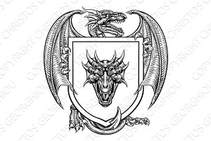 Dragon Heraldic Crest Coat of Arms Emblem Shield