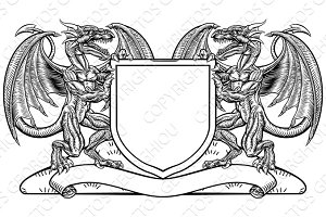 Dragon Heraldry Crest Coat of Arms Shield Emblem