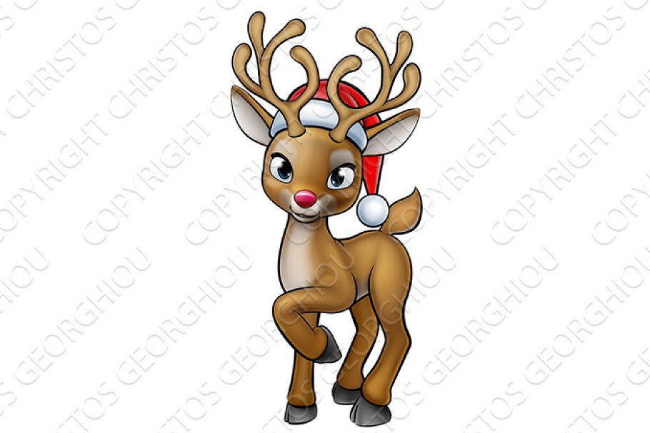 Cartoon Christmas Reindeer Wearing Santa Hat Illustrations