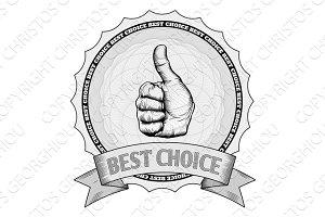 Thumbs up best choice award badge