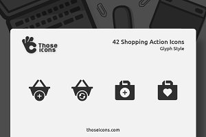 42 Shopping Action Vector Glyph Icon