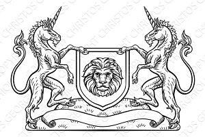 Knight Crest Unicorn Shield Heraldic Emblem