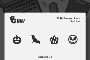 30 Halloween Glyph Vector Icon