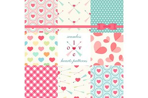 Set of cute primitive seamless patterns