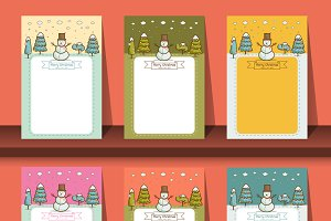 brochures with  snowman vector