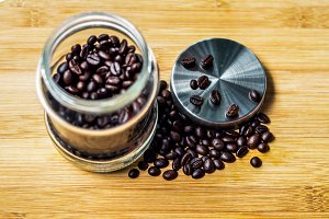 coffee beans in a jar