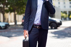 Businessman standing with briefcase talking on mobile phone