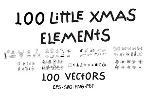 100 Little Xmas Vector Elements